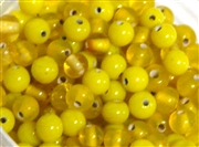 50pc glass round beadmix 4-5mm yellow mix