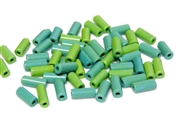 10gm czech glass large bugle beads green mix