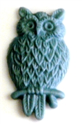 2pc resin cabochon owls 15x25mm light grey