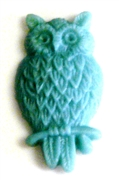 2pc resin cabochon owls 15x25mm dark teal