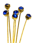 4pc crystal end headpins 50mm cobalt blue & gold plated