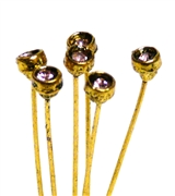 4pc crystal end headpins 50mm rose pink & gold plated