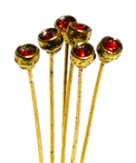 4pc crystal end headpins 50mm siam red & gold plated