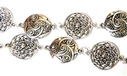 Antique Silver Solid Swirl & Flower Chain (12 Link Length)