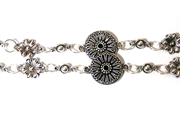 Antique Silver Etched Flower Chain (28 Link Length)