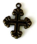 2pc antique brass charm cross 20x15mm