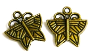 6pc antique brass etched butterfly charms 21x20mm