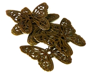 6pc antique brass filigree butterflies 31x26mm