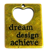 1pc antique brass dream design & achieve heart tag 30x24mm