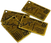 6pc antique brass love you postcards 25x16mm