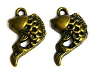 6pc antique brass curled fish charm 14x20mm