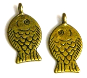 4pc antique brass flat fish charms 16x25mm