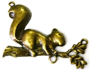 1pc squirrel on branch antique brass pendant 2 hole