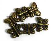 6pc antique brass butterfly beads 6mm