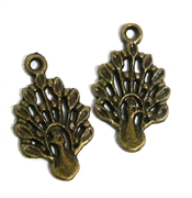 2pc antique brass peacock charms 19x11mm