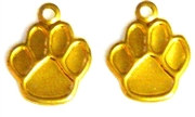 8pc brass pawprint charms