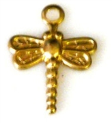 4pc brass charm tiny dragonfly 8x12mm