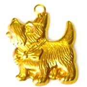 2pc brass charm scotty dog