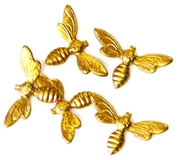 6pc brass charm mini bees