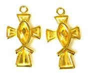 2pc gold plated cross charms 26x15mm