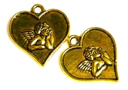 4pc antique gold angel heart charm 18x20mm