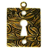 1pc antique gold etched keyhole charm square