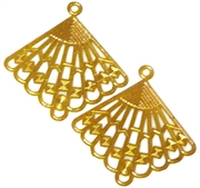 2pc lace cut charm gold plated diamond