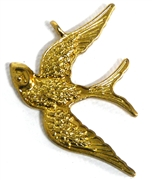 1pc antique gold flying bird charm 28x40mm