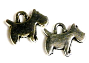 6pc antique silver scotty dog charms 14x16mm