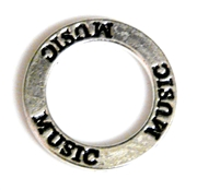 1pc 22mm double sides toggle ring silver plated music
