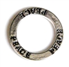 1pc 22mm double sides toggle ring silver plated peace