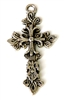 1pc silver plated large fluer cross 46x26mm