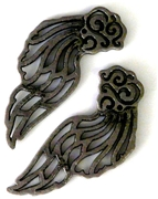 2pc silver plated wing charms 60x30mm