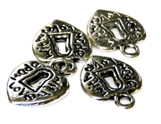 10pc antique silver keyhole made with love charms
