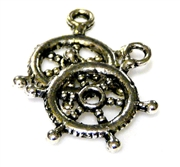 8pc antique silver nautical wheel charm