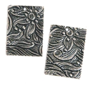 2pc antique silver etched rectangle charm 15x11mm
