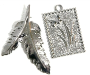 2pc silver leaf charm set leaf 40x30mm square 20x32mm