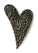 1pc antique silver charm etched heart 16x30mm