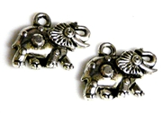 6pc antique silver small elephant charms 16x14mm