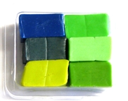6pc clay assortment packet green & blue