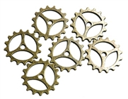 6pc antique brass cog part charms open 25mm
