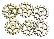 5pc antique gold cog part charms open 16mm