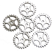 6pc antique silver cog part charms open  25mm