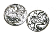 4pc antique silver watch mechanism charm 25mm