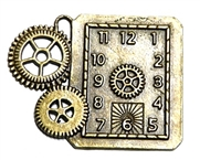 1pc antique brass watch Square clock cog pendant 49x40mm