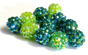 4pc 8mm acrylic rhinestone rounds mix green