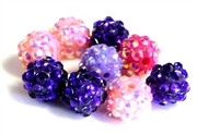 4pc 8mm acrylic rhinestone rounds mix purple & pink
