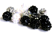 4pc 8mm acrylic rhinestone rounds mix black & white