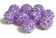 2pc 10mm acrylic rhinestone rounds lilac purple