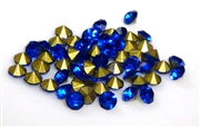 60pc 3mm rhinestone point back crystals blue